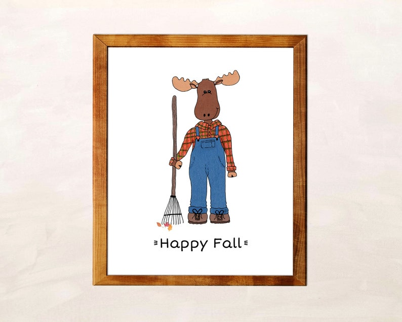 Happy Fall Sign Moose Print Cute Wall Art Decor image 0