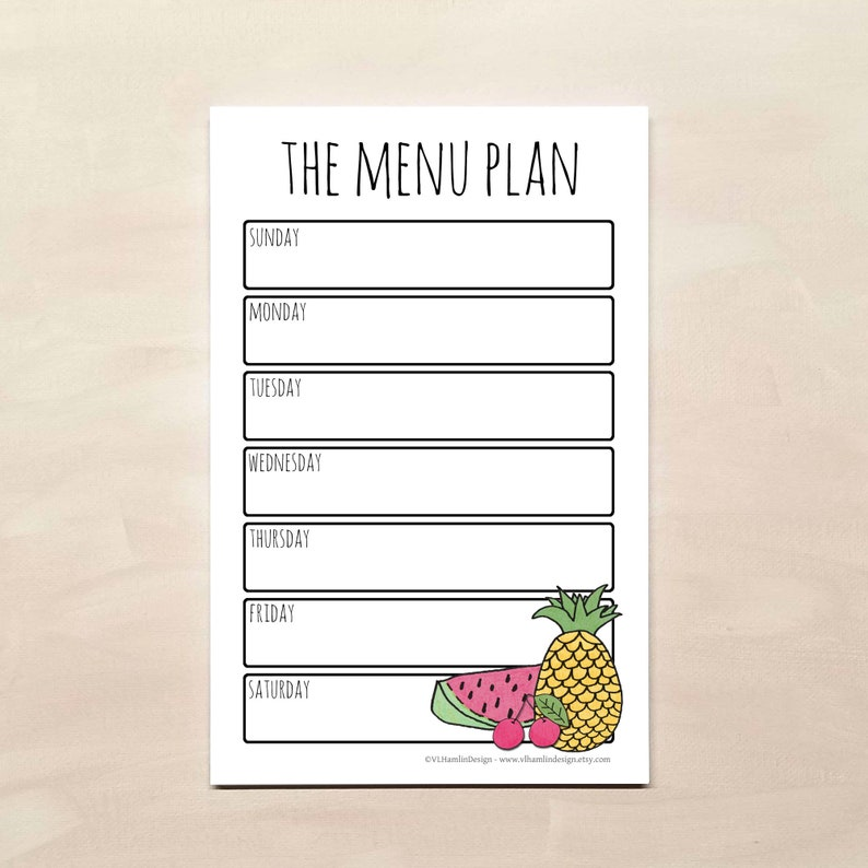 Magnetic Weekly Meal Planner Notepads from VLHamlinDesign