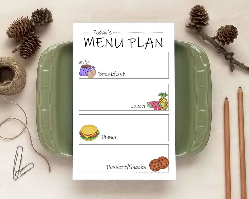 Doodles Magnetic Daily Menu Planner Notepad | VLHamlinDesign