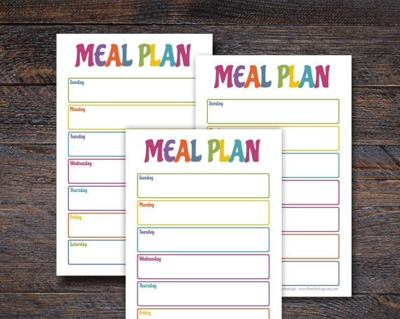 Bright and Colorful Meal Planner Notepad