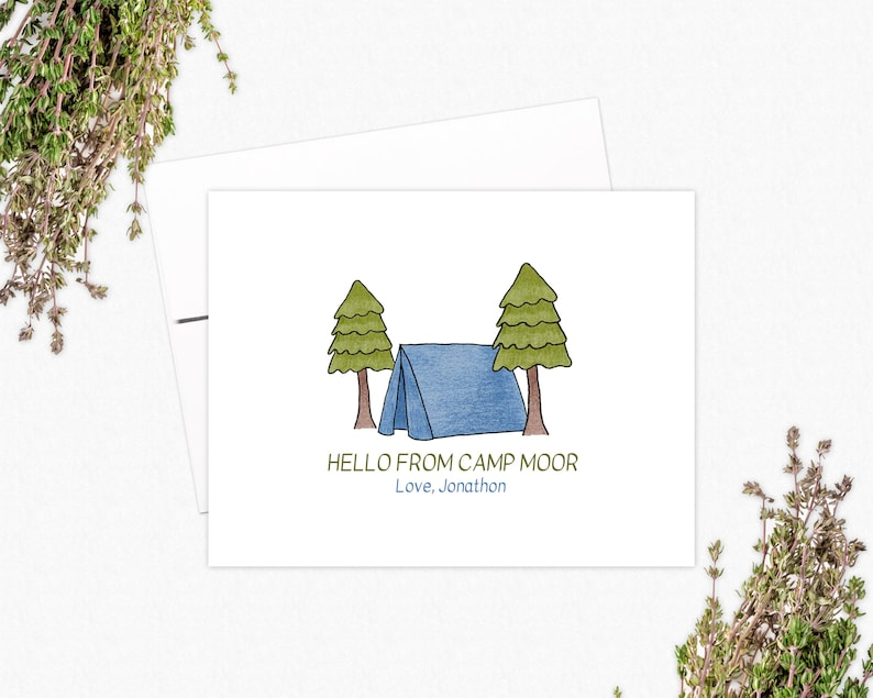 Summer Camp Folded Note Card Set Personalized Gifts for Kids