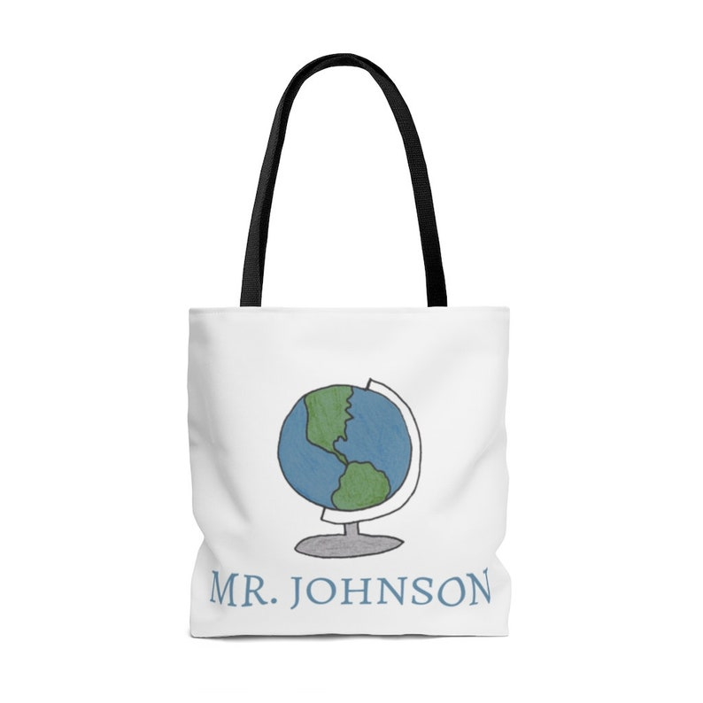 Globe Tote Bag Personalized Gifts for Teachers from VLHamlinDesign