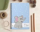 Blue Elephant Notebook for Kids - Personalized Elephant Gift