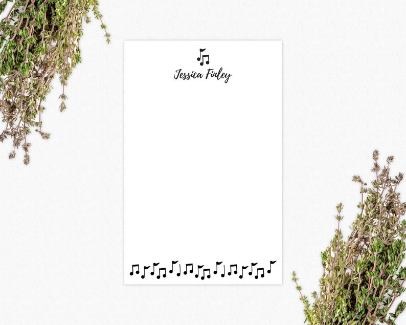 Personalized Notepad Custom Stationery Gifts for Musicians or Teachers Music Notes 50 Pages Writing Pad 5.5 x 8.5