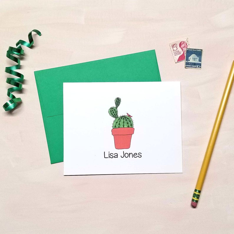 Personalized Cactus Note Cards for Women
