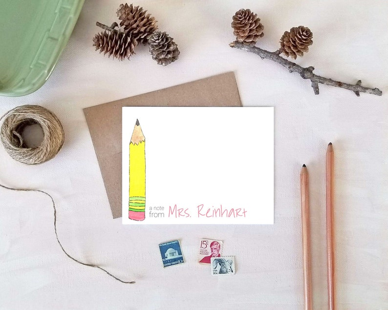 Pencil Note Cards  Personalized Gift for Teachers  Back to image 0