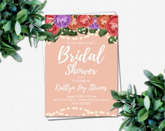 Wedding Shower Invitation - DIY Bridal Party Invitations - PRINTABLE Bridal Shower Invitations - 4 Color Choices | Roses & Sparkles Colors