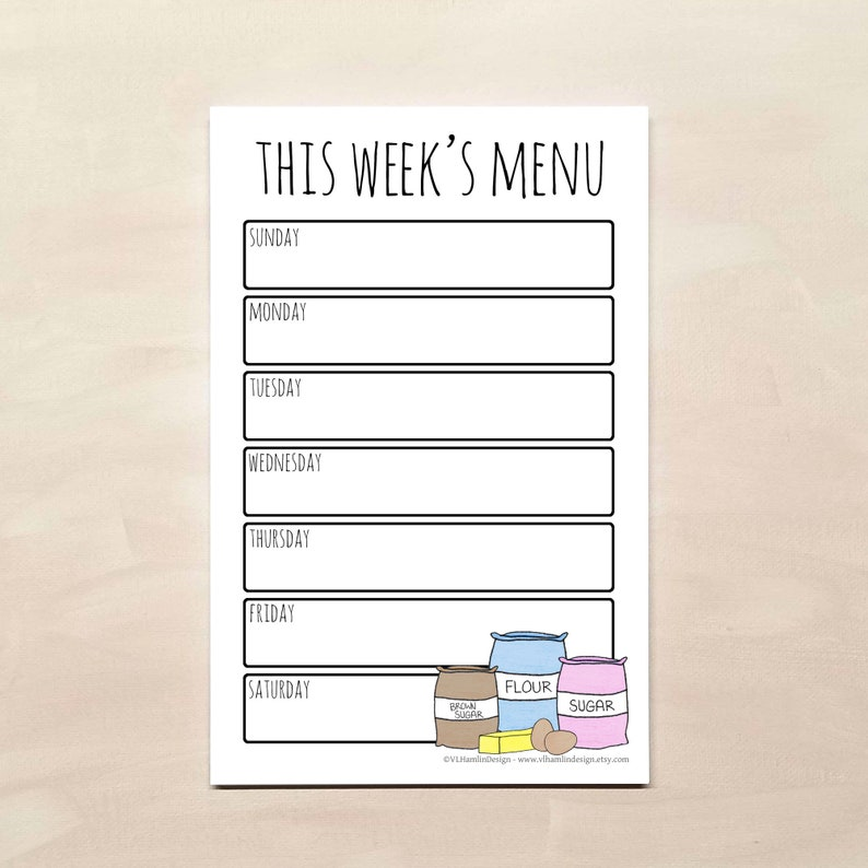 Magnetic Weekly Meal Planner Notepad - Essentials