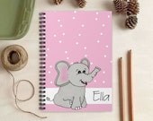 Pink Elephant Notebook for Kids - Personalized Elephant Gift