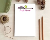 Personalized Tennis Notepad - Pink Tennis Raquet Stationery - Gifts for Tennis Coach - Tennis Gift