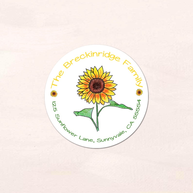 40 Personalized Sunflower Address Labels
