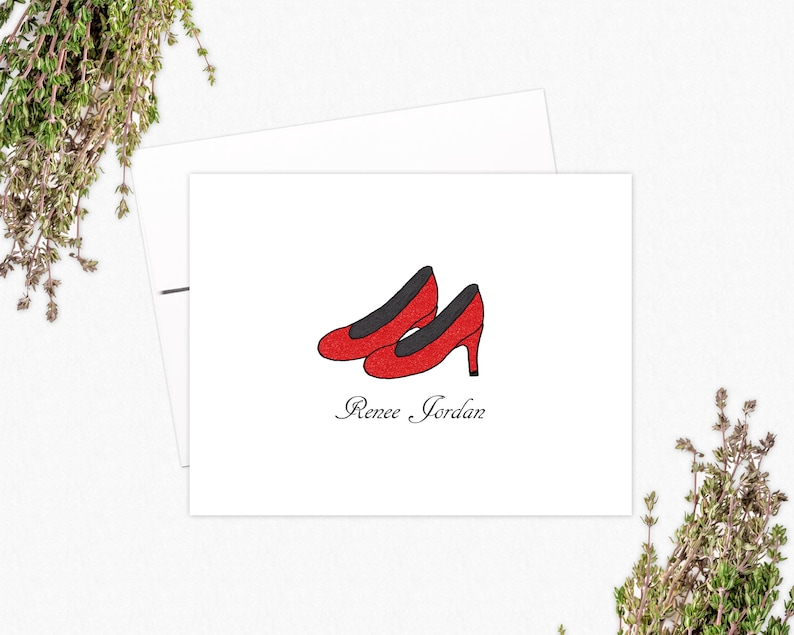 Personalized Stationery Gifts for Shoe Lovers High Heels Folded Note Cards
