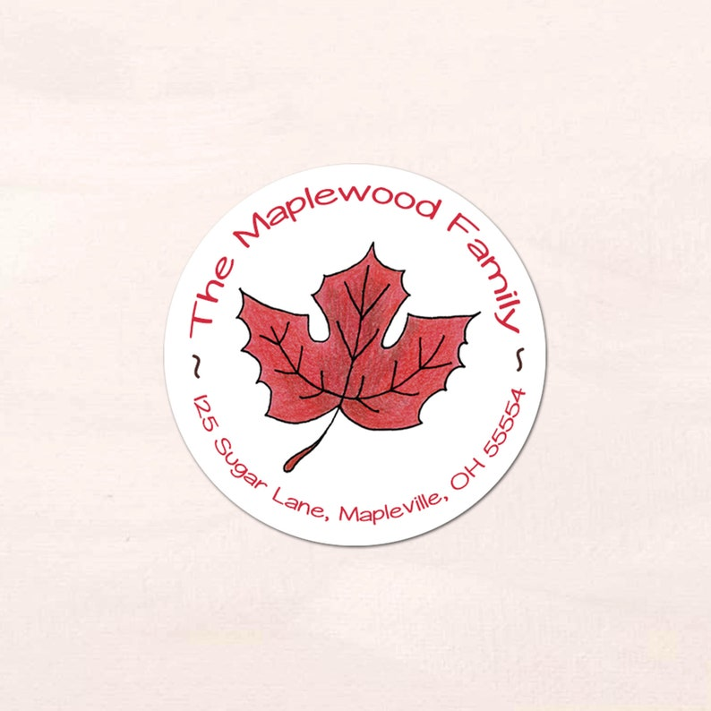 40 Personalized Fall Maple Leaf Address Labels