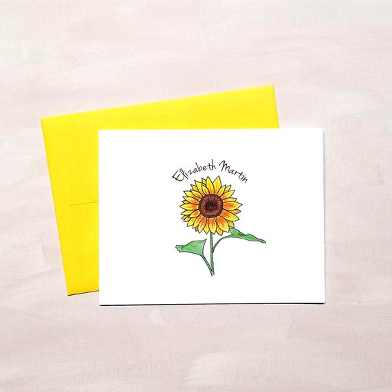 Sunflower Personalized Custom Note Cards /& Envelopes Thank You Stationery