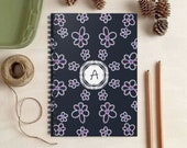 Monogram Notebook - Personalized Gift - Blue Floral Journal