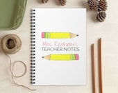 Personalized Teacher Notebook - Watercolor Pencil Notebook for Teachers - Teacher Gift