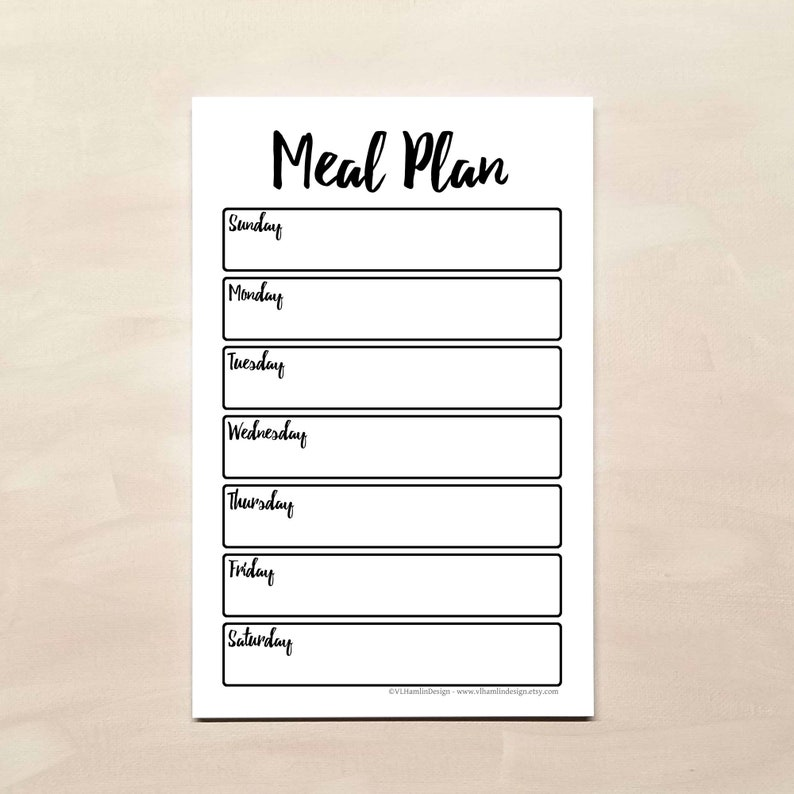 Magnetic Weekly Meal Planner Notepad from VLHamlinDesign