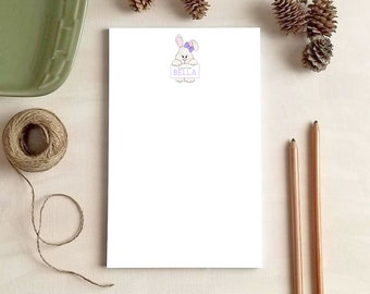 Watercolor Bunny Notepad for Girls - Personalized Notepads - Cute Easter Gifts