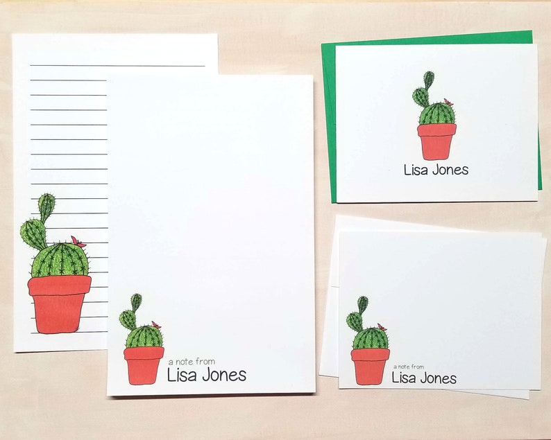 Personalized Cactus Stationery Set for Women - Large