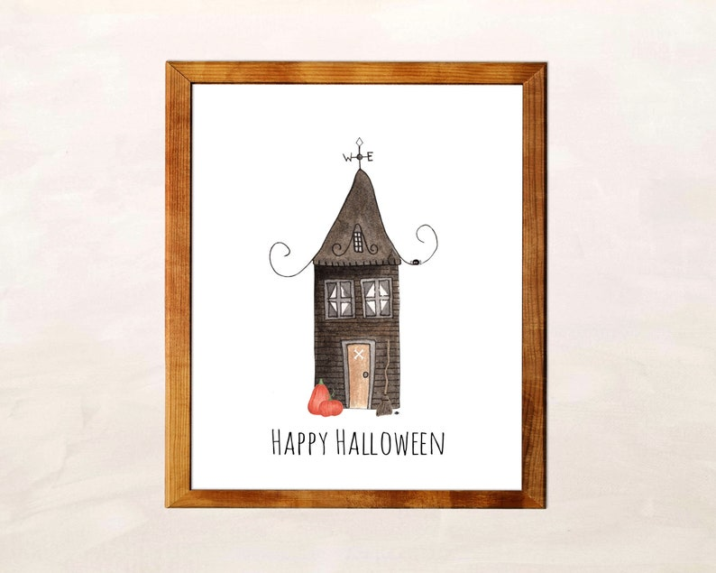 Halloween Wall Art Print Haunted House image 0