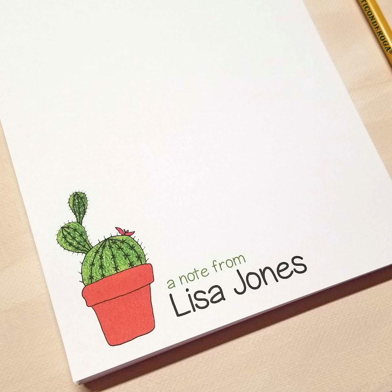 Cactus Notepad for Her - Personalized Stationery Gifts