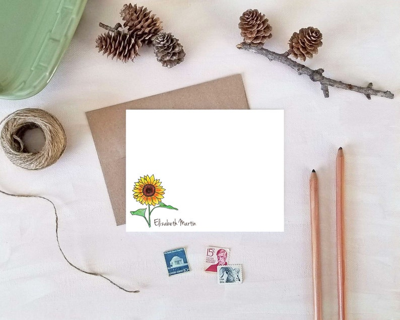 Sunflower Stationery  Personalized Note Cards  Sunflower image 0
