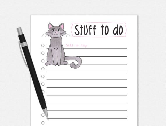Cat Stuff To Do List Notepad from VLHamlinDesign