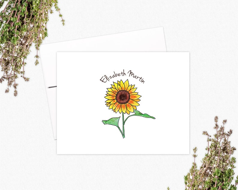 Sunflower Folded Note Cards | VLHamlinDesign