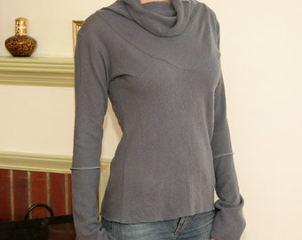 Sandmaiden wool knit cowl neck sweater with bell sleeve - full size range