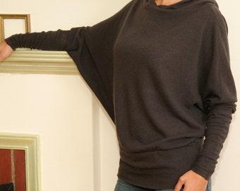 felted wool knit dolman sleeve hoody - made to measure