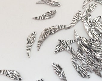 50 Small Silver Bird Wing Charms - Tiny Angel Wing Pendants