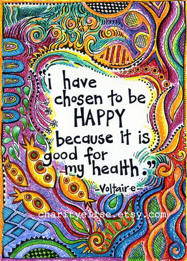 Brightly Colored Art Print I have chosen to be happy image 0