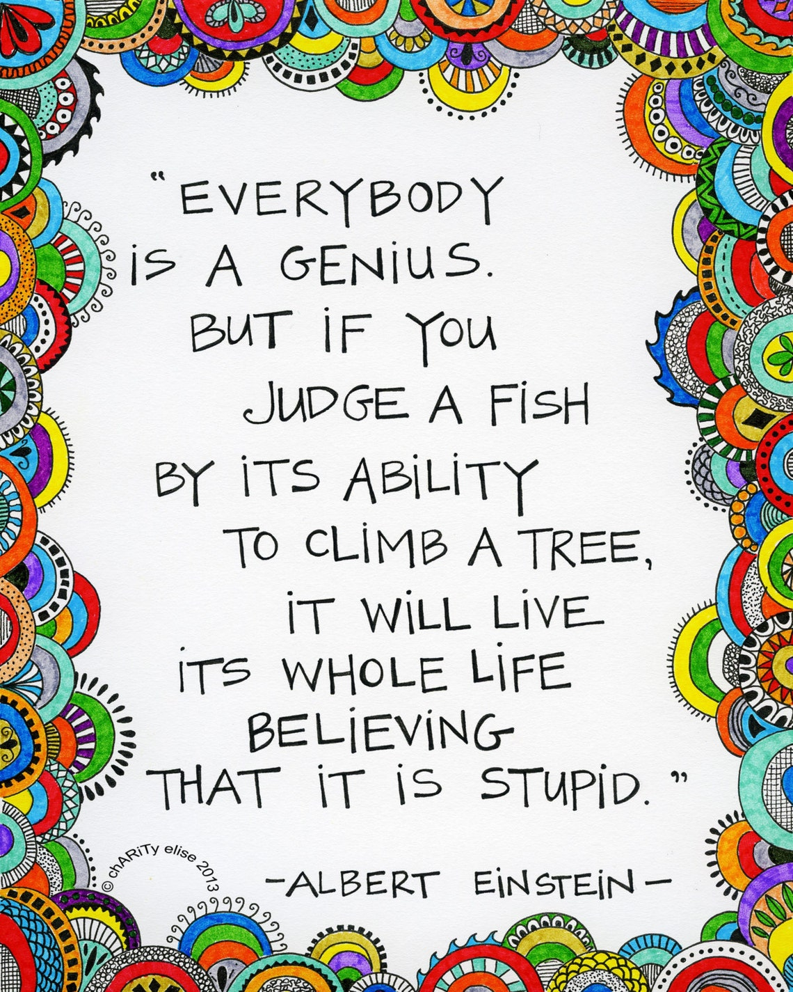 Brightly Colored Art Print  Everybody is a Genius   Albert image 0