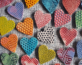 Colorful Hearts- Ceramic Heart Magnets-Stocking Stuffers
