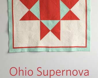 Ohio Supernova, a PDF modern quilt pattern in two sizes, by Heather Jones