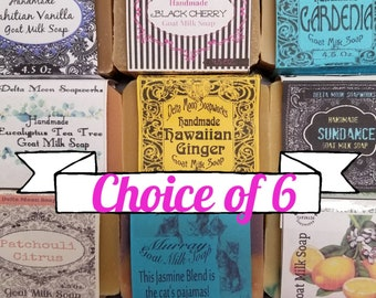 Choice of 6 Handmade Goat Milk Soaps, self care, free delivery, ready to ship, olive oil, gift for her, eco friendly, cold process soap