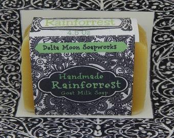 Rainforrest Goat Milk Soap, Handmade Soap, bestselling soap, olive oil, Honey Soap, Shaving soap,  ready to ship