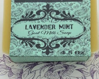 Lavender Mint Goat Milk Soap, Cocoa Butter, ready to ship,
