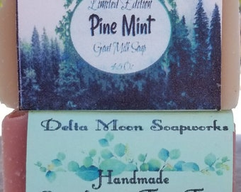 READY TO SHIP Pine Mint and Eucalyptus Tea Tree Goat Milk Soaps, shea butter soap, holiday soap,  coworker gift, gift for her, mild