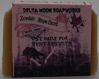 Zombie Repellent Goat Milk Soap, ready to ship, Halloween, TWD, Black Cherry