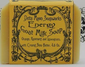 Energy Goat Milk Soap, ready to ship, Orange, Lemongrass, Rosemary and Shea Butter,  honey soap, shaving soap