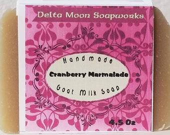 Cranberry Marmalade Goat Milk Soap, ready to ship