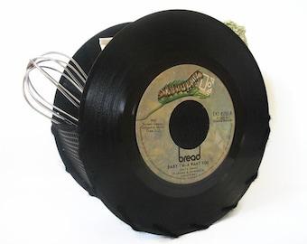 Vintage Vinyl Record Storage Container Office Desk Accessories Napkin Holder