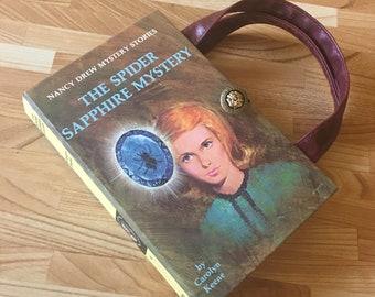 Nancy Drew Book Purse Spider Sapphire Mystery Handbag Vintage Book Purse