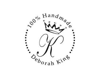 100 Handmade Monogram Crown Custom Rubber Stamp