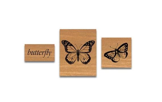 SALE Vintage Rubber Stamp Set Butterlies Butterfly cavallini stamps cavallini rubber stamps