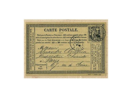 Antique Paris Carte Postale French Postcard rubber stamp post card