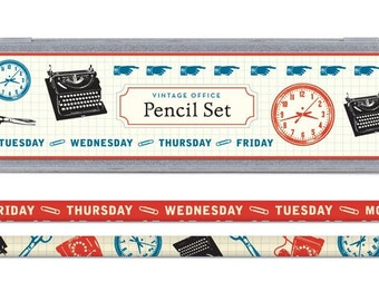 Vintage office theme pencil set in decorative tin, pencils & sharpener