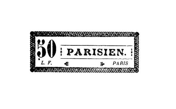 CLEARANCE Antique Paris Label Rubber Stamp French Vintage 50 Parisien