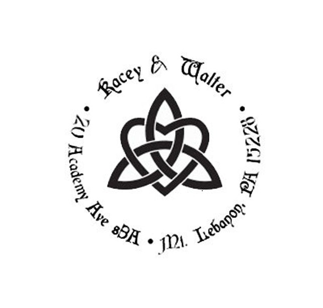 Celtic Triquetra Knot  heart return address custom Rubber Stamp
